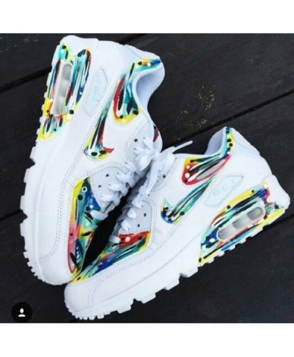 Nike Air Max 90 Süßigkeit Drip Bunte Weiß Damen Sale UK