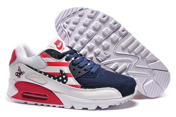 Nike Air Max 90 USA-Flaggen-Dunkelheit Blau Rot Weiß Damen Sale UK